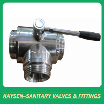 DIN Manual Hygienic Three Way Ball Valve Male