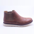 Men Cool Elastic PU Brown Martin Boots