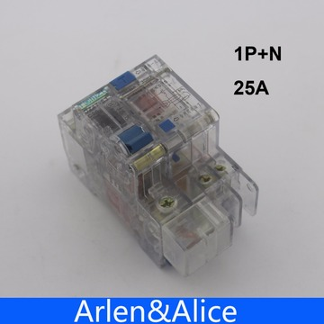 Transparent 1P+N 25A 230V~ 50HZ/60HZ Residual current Circuit breaker with over current and Leakage protection RCBO