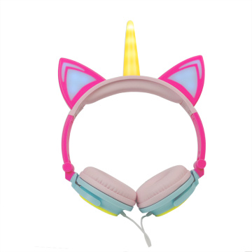 Cuffie LED Light Up Unicorn Wired Headsets