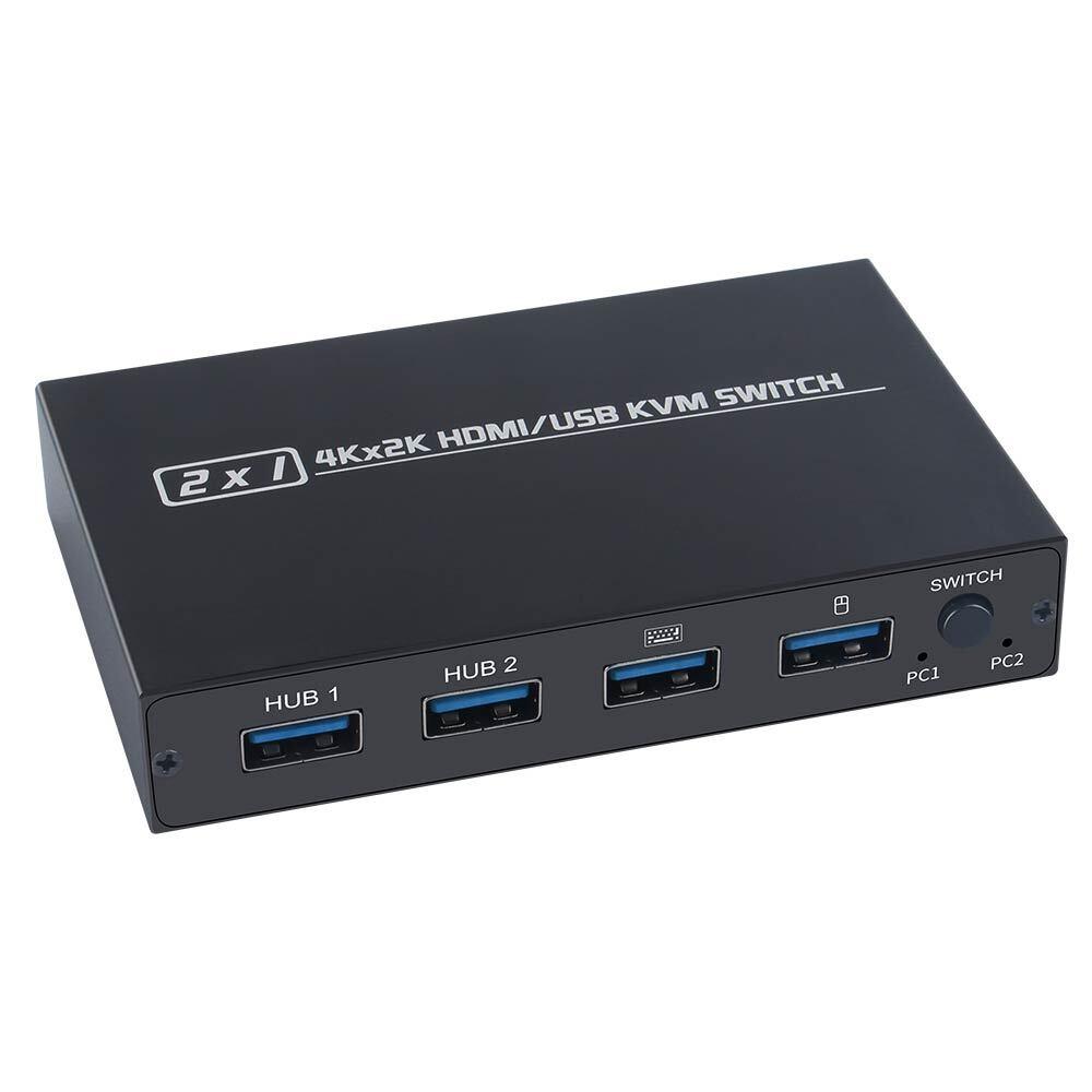 HDMI KVM Switch 2 Port 4K USB Switch KVM VGA Switcher Splitter Box for Sharing Printer Keyboard Mouse KVM Switch HDMI VGA