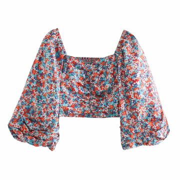 woven long sleeve print square neck  top