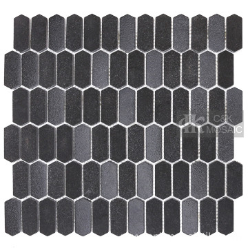 Long Hexagon Black Recycled Glass Mosaic Tiles