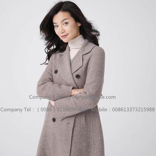 Women's Long Brown Hooded Cashmere Overcoat