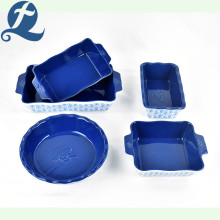 High Quality Custom Printing Ceramic Stoneware Lotus Leaf Baking Pan