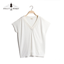 Lightweight Summer Solid Knitted V-neck White Shirt