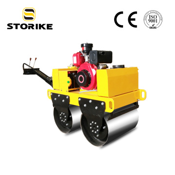 Hand push double drum vibratory road roller compactor
