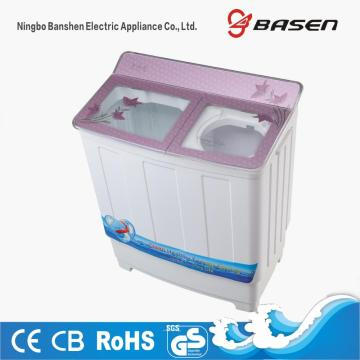 Purple Transparent Glass Cover 7.8KG Double Tub Washing Machine
