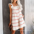 Knee-Length Summer Square Collar Ruffle Shoulder