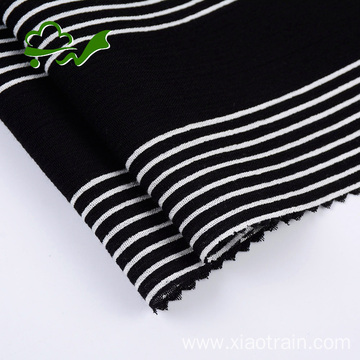 White black stripe printed viscose rayon crepe fabric