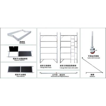 Double Width Aluminum Mobile Scaffolding Build-in Ladder