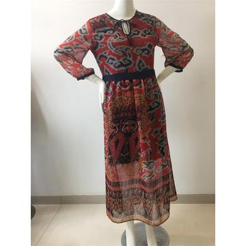 Printed Chiffon Long Dress With Lining