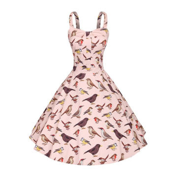 Women Vintage Retro Animal Print Pattern Dress