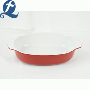 Cooking Ceramic Cake Square Tray Baking Plate Pan With Handles
