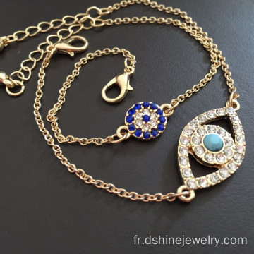 Evil Eye Bracelet or strass bleu Evil Eye Bracelets