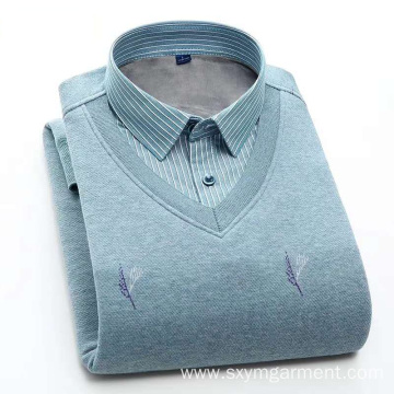 Mens warm plush long sleeves shirt