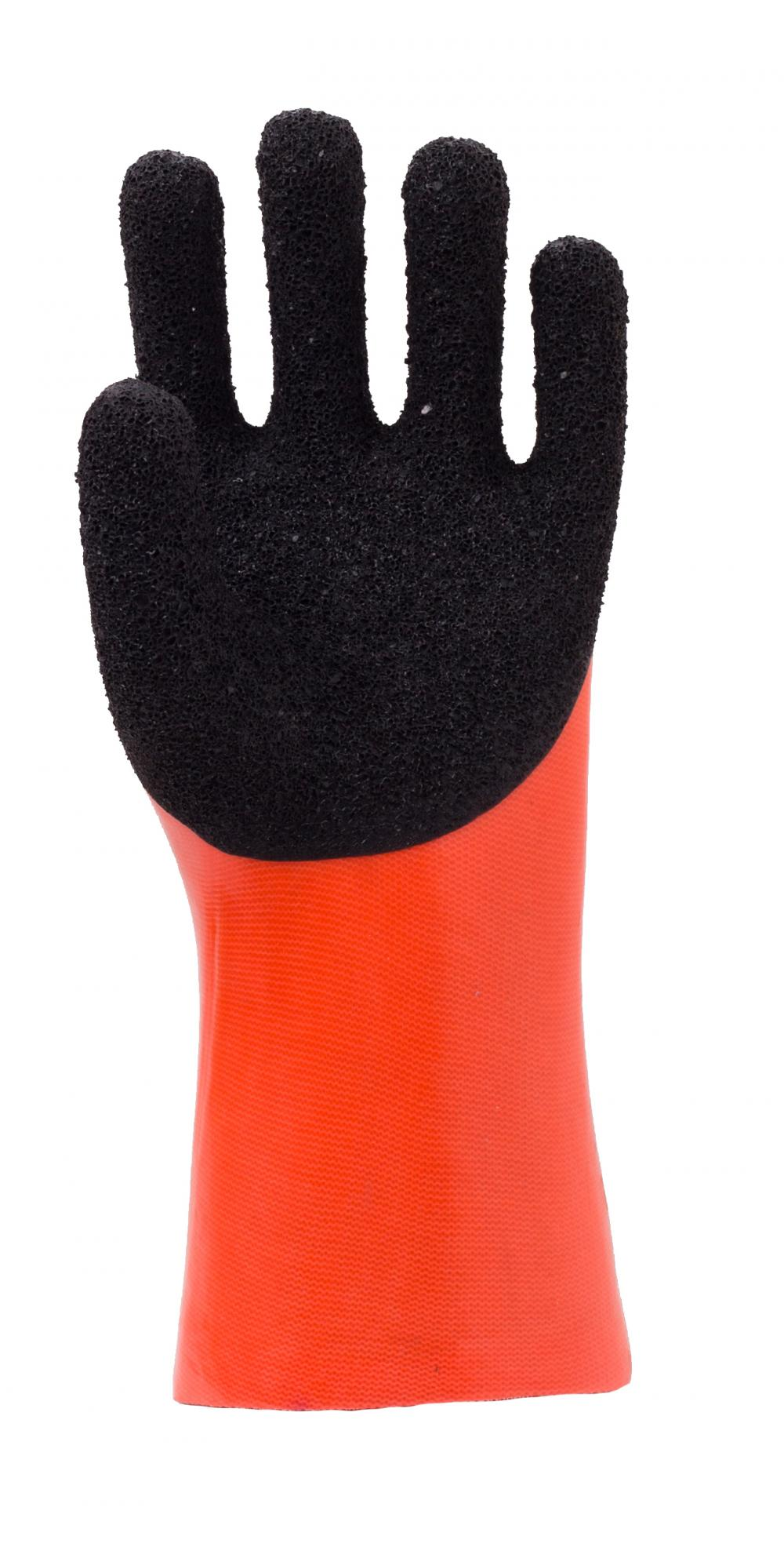 Fluorescent Orange PVC Glove.Black Foam Finish