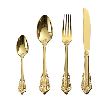 Gold Spoon Fork Knife Restaurant Hotel Cutlery