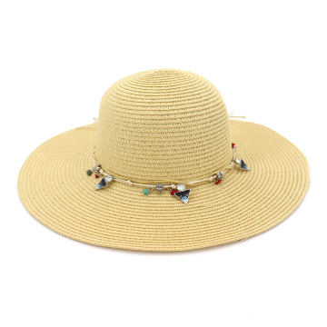 Custom decoration large brim summer straw hat