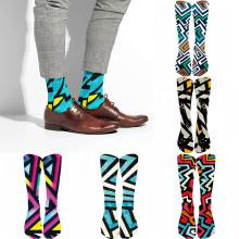 Korea Harajuku Trend Man Socks Colorful Geometric Checkered Socks Men Hip Hop Cotton Unisex Streetwear Novelty Socks