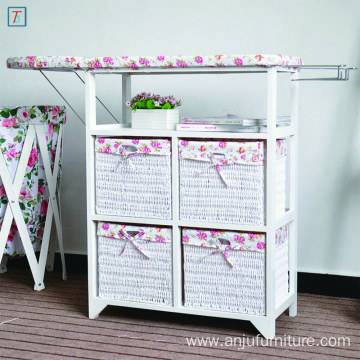 Pastoral Style White Folding Ironing Board Wooden Storage Cabinet with 4 Storage Drawers