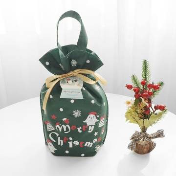 Green Cartoon Christmas Non-woven Gift Drawstring Bags