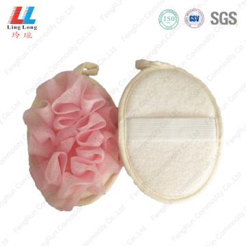 Oval mesh loofah mix sponge shower