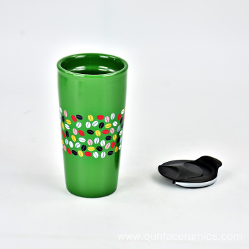 High quality coffee ceramic custom souvenir mug with plastic cap