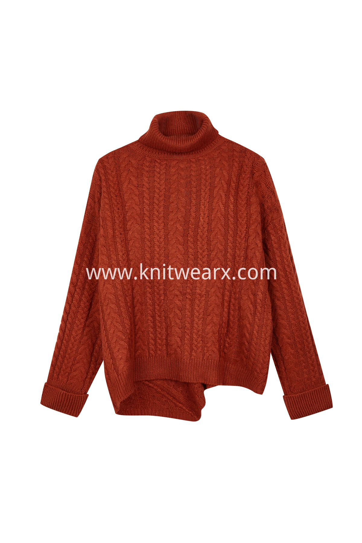 Women's Casual Turtleneck Loose Chunky Cable Knit Pullover Sweater Outerwear