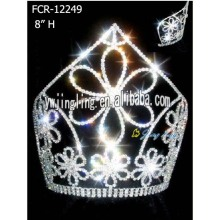 8 Inch Wholesale Rhinestone Flower Pageant Crowns