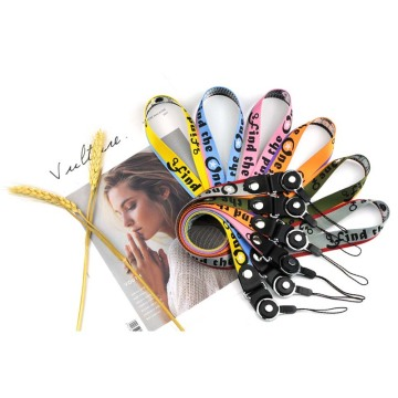 Promotional fashion durable nylon wrist lanyard for keys