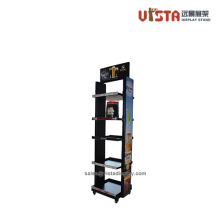 Promotion Rolling Metal Beverage Display Racks for Stores