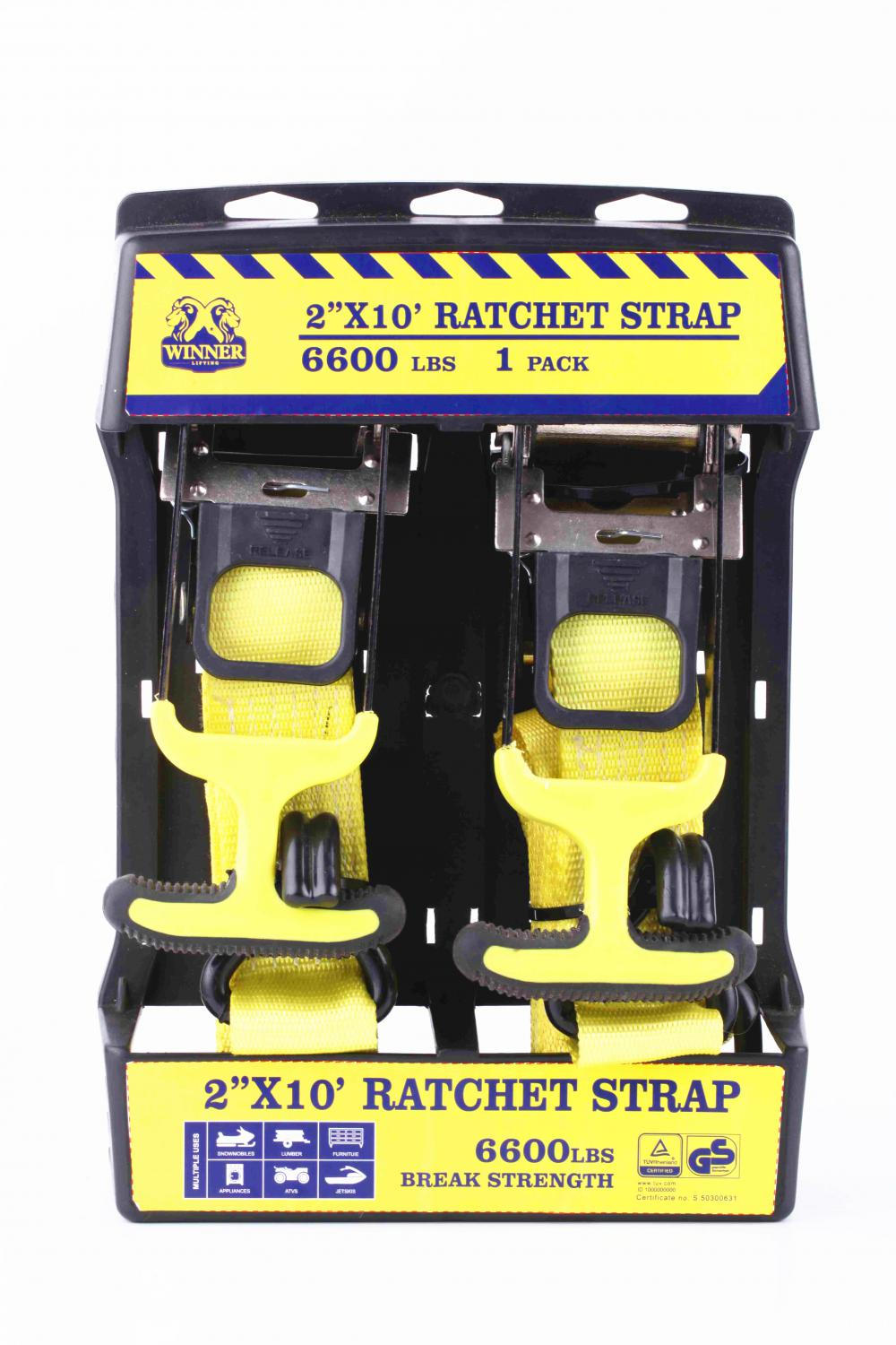 GS Approved 2''X10'Ratchet Lashing Belt Kit with Soft Handle