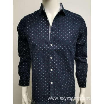 Men's cotton poplin print ls shirt