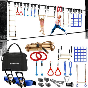 Kids Outside Swinging Obstacle Course Set