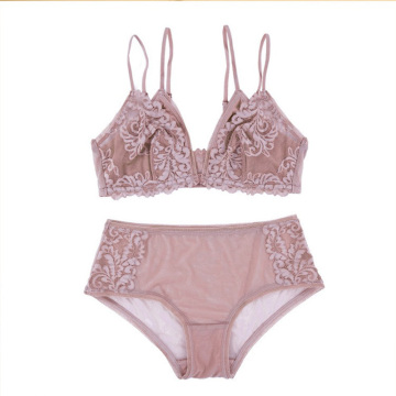 wire free front closure lace bralette set