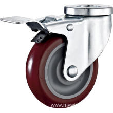 5inch Hollow Rivel Swivel Red PU Without Cover Castors With Top Brake