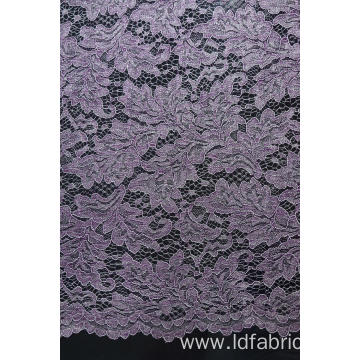 100%Polyester Cord Lace Fabric With Glitter