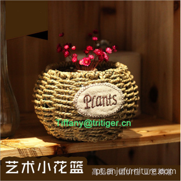 Cheap small wholesale eco-friendly corn husk seagrass woven basket