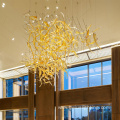 Office hall club crystal amber glass chandelier lamp