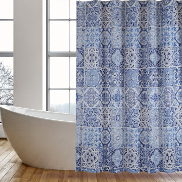 Shower Curtain PEVA Blue Tile