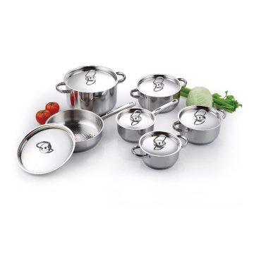 12 Pieces Stainless Steel Cookware with SS Lids