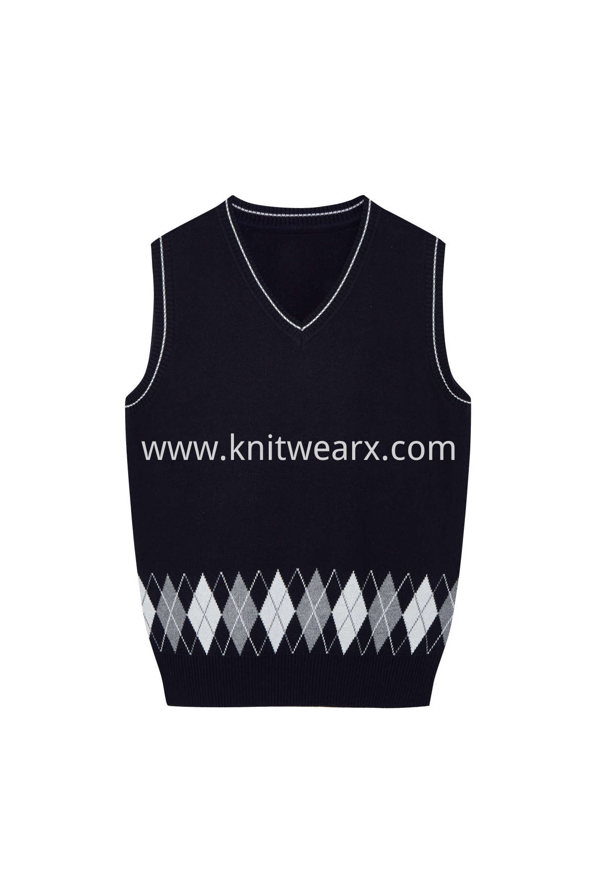 Kids's Sweater Jarquard Argyle Vest Cotton V-Neck School Uniform Pullover Top