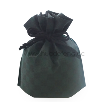 Green Checkered Pattern Japan Style Drawstring Lunch Bag