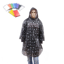 allover  print logo disposable PE raincoat