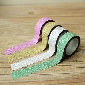 4 color Hot sales Webbing 5M Glitter Washi Sticky Paper Masking Decorative Adhesive Tape Label Craft Decorative DIY Scrapbooking