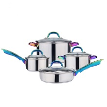 Stainless steel 8pcs cookware set with electroplated handle