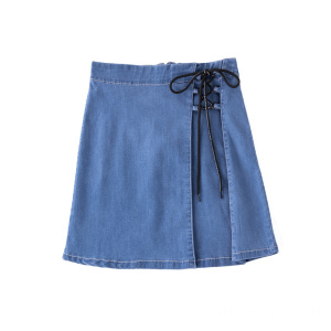 Drawstring Lace up Short Skirt Denim Jeans A-Line Skirt