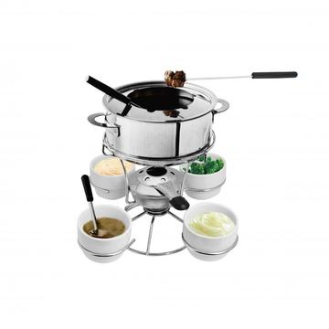 Stainless Steel Fondue Set With Lazy Susan