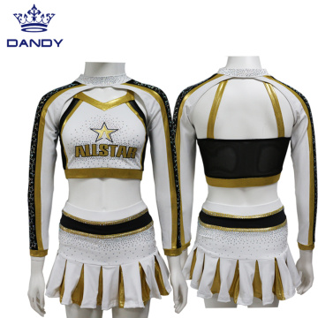 Custom gold all star cheerleading uniforms